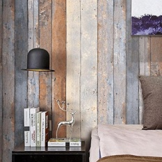 Haokhome 206 Distressed Wood Plank Wallpaper Rolls Smoky