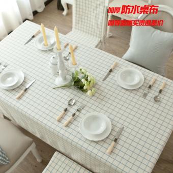 Ikea White Plaid Tablecloth Fabric Table Cloth Waterproof Living Room Coffee Desk