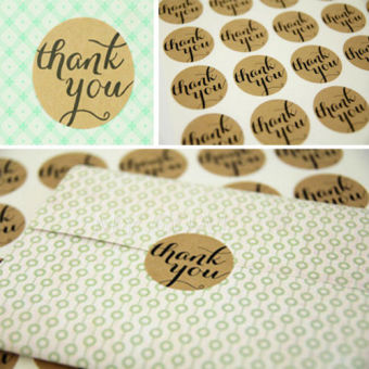 "36/72/108pcs ""Thank You"" Craft Seal Kraft Sticker Labels Wedding Favours Toppers"