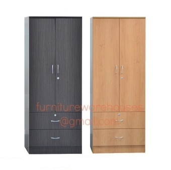 Harga 2 Door Wardrobe Cabinet (Walnut)