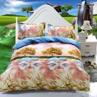 Harga Teamtop ..3D Swan Double Size Quilt Bedding Pillowcase Set Printed Duvet Cover - Intl