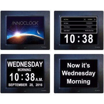 INNOCLOCK - Most Advanced - Superior Quality - Calendar Day Digital Clock - Large, Clear, Unabbreviated Time and Date - Ideal for Memory Loss, Impaired Vision and Seniors - intl - 2