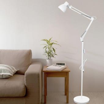 ToJane® LED Long Swing Arm Floor Lamp Metal Art Lamp Long Swing Arm Lamp, Amer-Style Lamp Studio/Bedroom Lamp White - 3