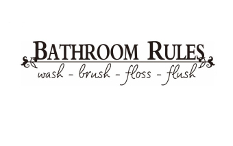 Harga Bathroom Rules English Words and Quotes PVC Wall Stickers
