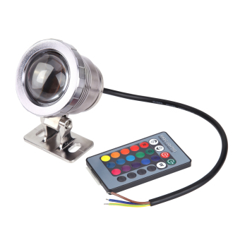 Harga 10W 16 Colors RGB LED Underwater Lamp Remote Control Pool Pond Light (Silver) - intl