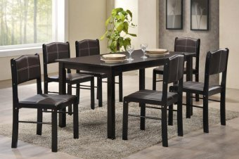 Harga Furniture Living 1+6 Wooden Dining Set (Walnut)