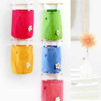 Cotton fabric storage bag wall hanging storage bag door after the bathroom hanging storage bag multilayer
