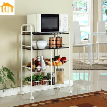 Harga 4 Tier Combination Storage Kitchen Trolley (White)
