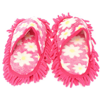 Harga 1 Pair Dusting Mop Broom Cleaning Slippers Lazy Shoes Home Room Floor Cleaner - Intl