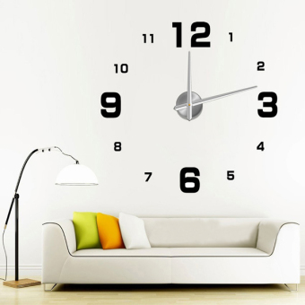 Harga Luxury Modern Digital Large Hours 3D Wall Clock Time Home Office Art Decoration