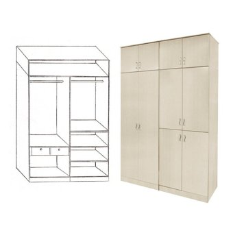 Harga Furniture Living Swing-Open Door Cabinet (White Wash)