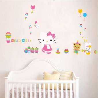 Harga Cozy bedroom children's room wall stickers girl cartoon kt cat hello kitty decoration background wall stickers can be removed