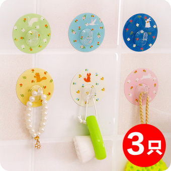 Harga Creative small floral free nail stickers magic suction wall hook seamless door after hanging clothes hook strong adhesive hook kitchen