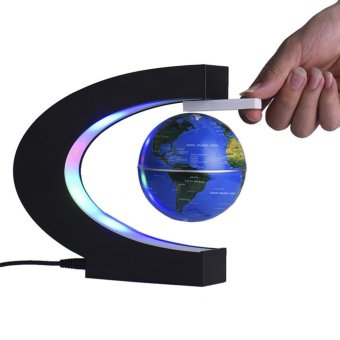 Harga EU Plug C Shape LED World Map Floating Globe Tellurion Magnetic Levitation Light World Map Home Decoration Kids Birthday Gift - intl
