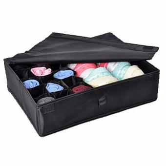 Harga Large-capacity Oxford Fabric Underwear Storage Box Drawer Organizer 16 Compartments Strong And Durable Bra Underwear Lingerie Socks Tie Storage Boxes Foldable Closet Organizers Collapsible Organizer Storage Boxes (Black) - intl