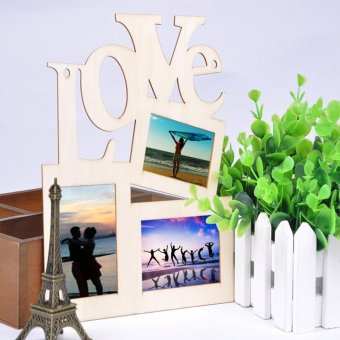 Harga Beau Sweet Wooden Hollow Love Photo Picture Frame Home Decor Art DIY Gift New Burlywood - intl