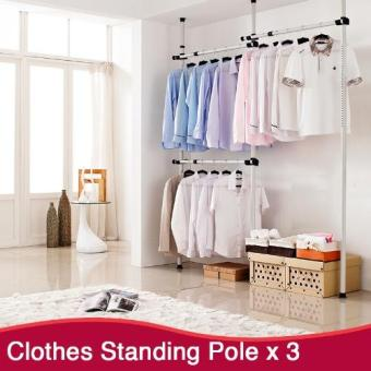 Harga 3 Tier Clothes Hanging Pole | Clothes Rack | Standing Pole | Clothes Hanger