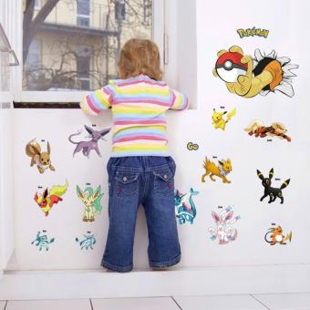 ... Fancyqube Cartoon Pokemon Wall Stickers For Kids Rooms Home Decorations  Pikachu Wall Decal Poster Wall Art ...