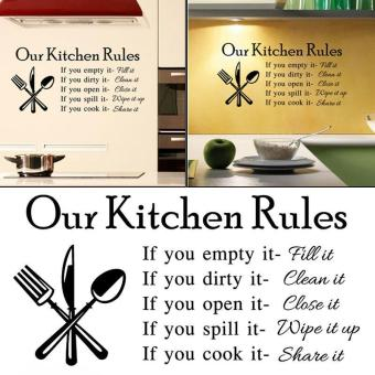 Harga Kitchen Rules Cook Words Quote Wall Stickers - intl