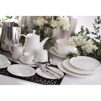 "Moderne 10"" Dinner Plate with Modern Line, 5pcs (White) - 2"
