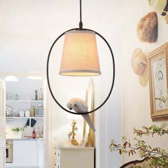 Harga Shifan Pendant Lights 25*37CM Creative Birds Single Heads Lamps 3033 American village Iron pastoral Cloth Fixtures