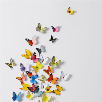 Harga 3D Wall Stickers Wall Decals 19 Pcs Colorful Butterflies PVC Wall Stickers