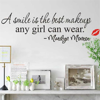 Harga Hequ Design A Smile Is The Best Makeup Any Girl Can Wear Wall Sticker