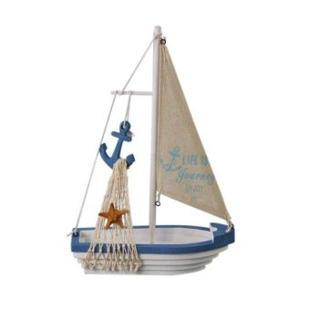 Harga BolehDeals Nautical Sailboat Mini Wooden Anchor Sailing Ship Table Dislpay Gift Deco #2 - intl