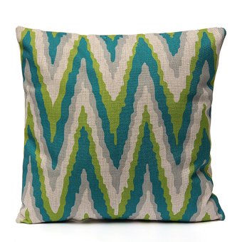 Geometry Nature Green Cotton Linen Home Decor Throw Pillow Case Cushion Cover - intl