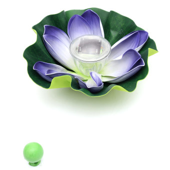Harga Solar Color-changing LED Lotus Flower Lamp Floating Pond Lamp Garden Pool (Purple)(Export)