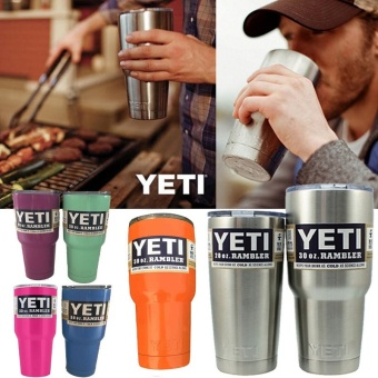 New Bilayer Stainless Steel Vacuum Insulated Bottle YETI Mug Cups 30.oz (Dark Blue)