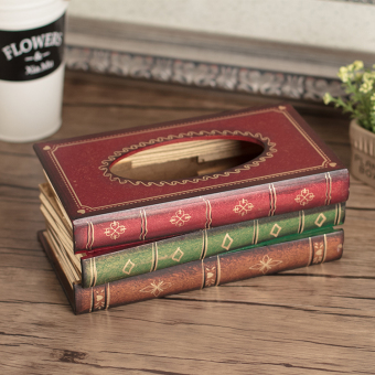 Harga Book-shaped wooden tissue box