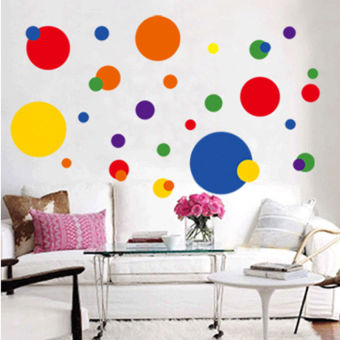 Harga S & F Vinyl Art Removable Circle Polka Dots Wall Sticker Decal Mural Living Room Decor
