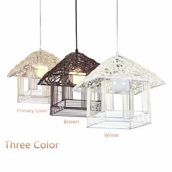 Harga Shifan Pendant Light 30CM Pastoral Woven Rattan Lamp Creative Small House Hanging Lighting Ceiling Fixtures JC3040 - intl