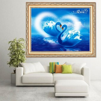 Harga 5D DIY Swan Lake Love Embroidery Mosaic Diamond Painting Cross Stitch Home Decor - intl