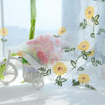 Flower Color Tulle Door Window Curtain (Yellow Daisy ) (EXPORT) - 2