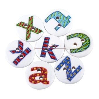 100pcs Wooden Sewing Button Scrapbook Craft Accessory (Letter) - intl - 4