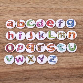 100pcs Wooden Sewing Button Scrapbook Craft Accessory (Letter) - intl - 3