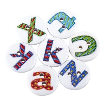 100pcs Wooden Sewing Button Scrapbook Craft Accessory (Letter) - intl - 2