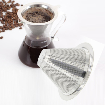 Harga Stainless Steel Coffee Filter Coffee Dripper Pour Over Coffee Maker Drip Reusable Efficient separation Coffee Filter - intl