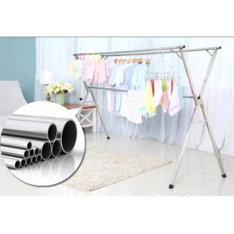 Clothes Drying Rack (2.4 meters) X Shape Foldable Stainless Steel with Wheels - 5