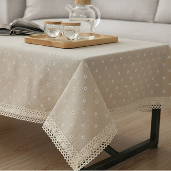 Harga High Quality A:48*38 Linen tablecloths Gaibu Sen Department Petty daisy lace linen table cloth