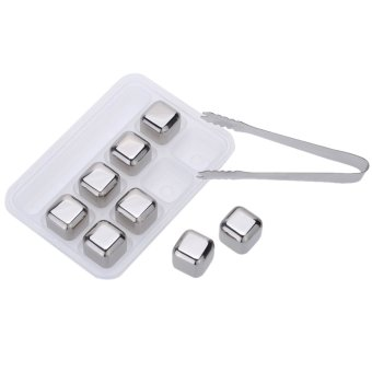 Harga 8Pcs/lot Whiskey Wine Beer Stones 440C Stainless Steel Cooler Stone Whiskey Rock Ice Cube Edible Alcohol Physical Chiller Stone - intl