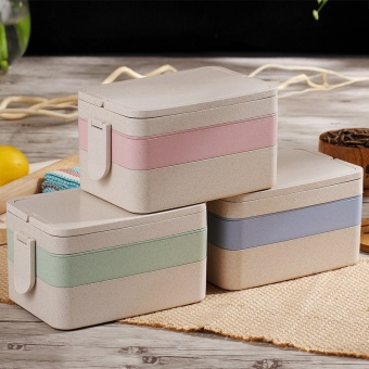 Harga Wheat elements cute lunch box points grid 3 three layer lunch box multi-layer large capacity lunch boxes student children's Japanese-style lunch boxes