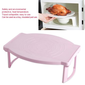 Harga Beau Multifunctional Kitchen Foldable Microwave Oven Shelf Plastic Heating Rack Pink - intl