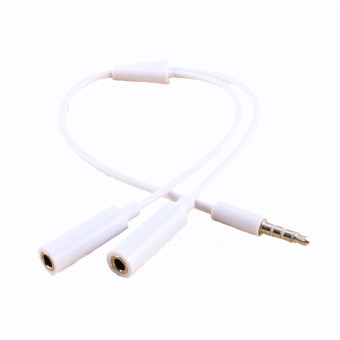 Harga 3.5mm AUX Audio Mic Splitter Cable Earphone Headphone Adapter(White)