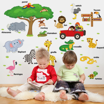 Harga Removable baby cartoon children's room wall stickers bedroom wall stickers wall stickers wallpaper adhesive animal