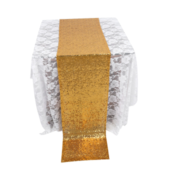 275X30CM Gold Glitter Sequin Table Runner Cloth Sparkly Wedding Party Decor - intl