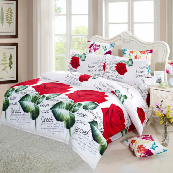 Harga 4pcs 3D Printed Bedding Set king size Bedclothes Red Rose in Full Bloom Duvet Cover Bed Sheet 2 Pillowcases - intl