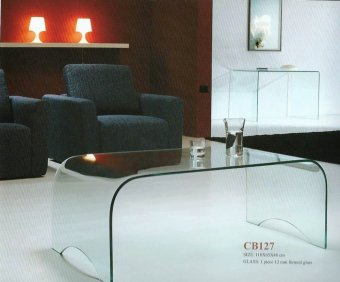 Harga Trista clear glass coffee table